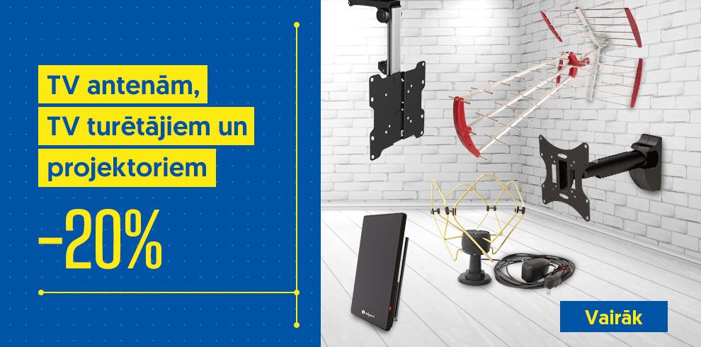 TV antenām, TV turētājiem un projektoriem -20%