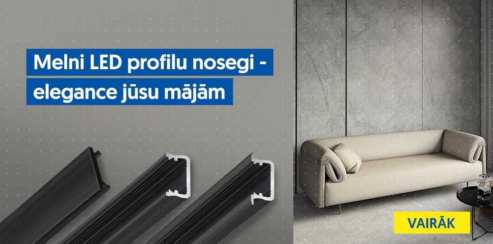Melni LED profilu nosegi - elegance jūsu mājām